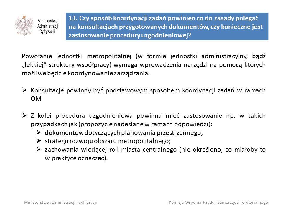13. Czy sposób koordynacji zadań powinien co do zasady polegać na konsultacjach przygotowanych dokumentów, czy konieczne jest zastosowanie procedury u