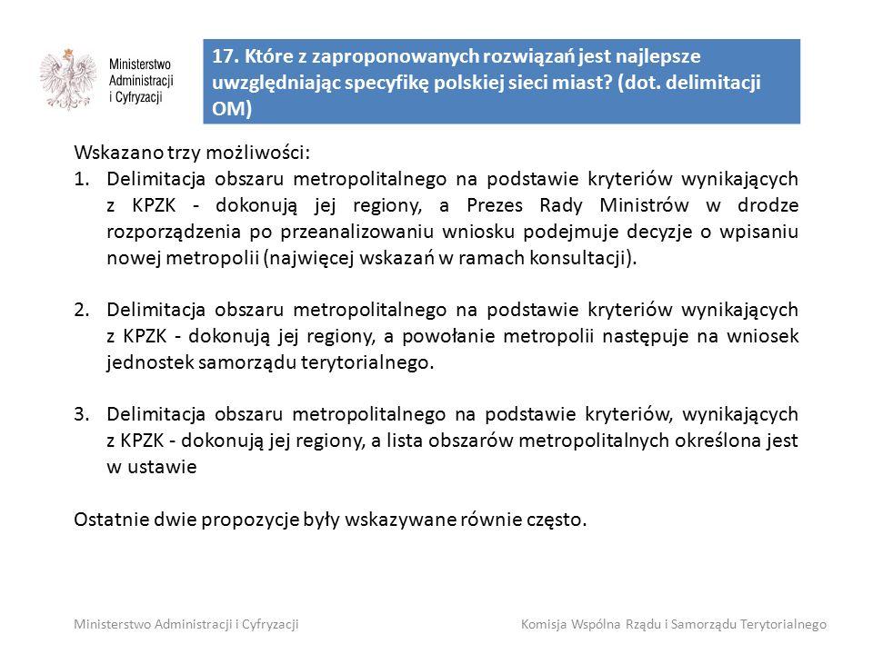 17. Które z zaproponowanych rozwiązań jest najlepsze uwzględniając specyfikę polskiej sieci miast? (dot. delimitacji OM) Wskazano trzy możliwości: 1.D