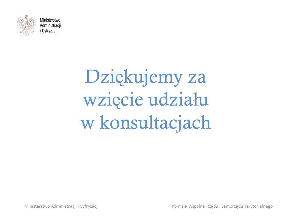 Dzi ę kujemy za wzi ę cie udzia ł u w konsultacjach Ministerstwo Administracji i CyfryzacjiKomisja Wspólna Rządu i Samorządu Terytorialnego