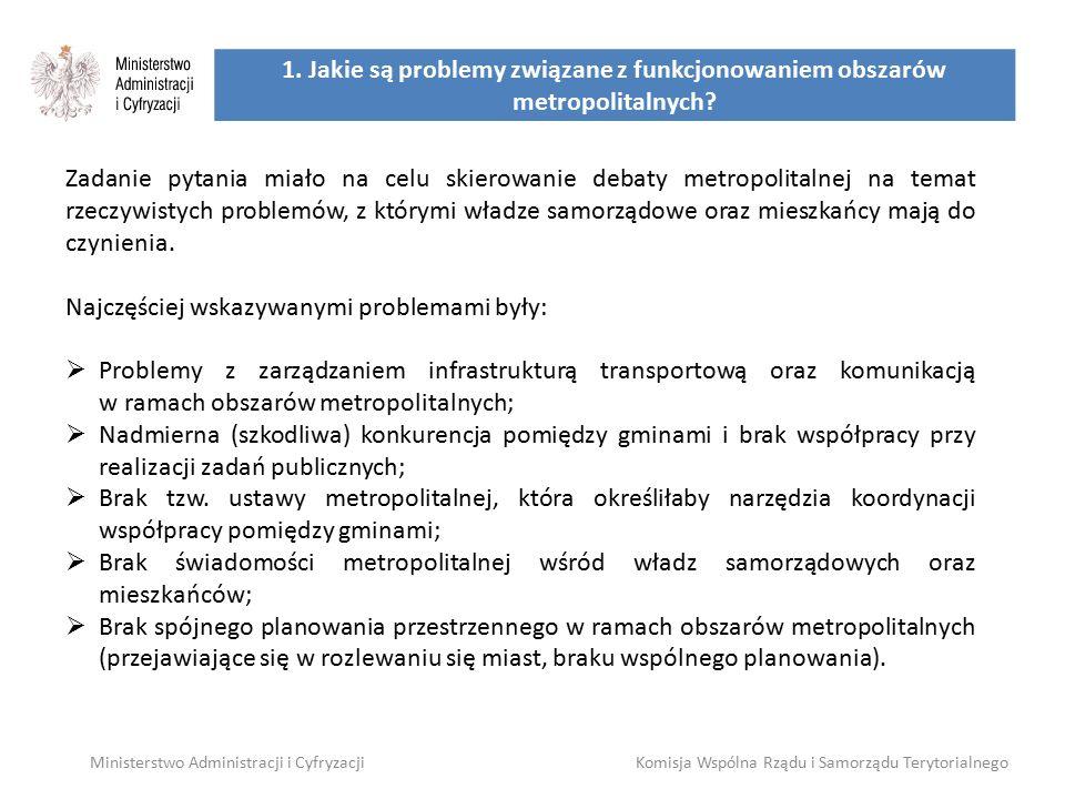 1. Jakie są problemy związane z funkcjonowaniem obszarów metropolitalnych? Ministerstwo Administracji i CyfryzacjiKomisja Wspólna Rządu i Samorządu Te
