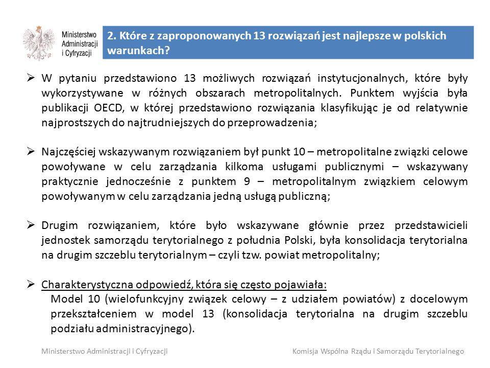 2. Które z zaproponowanych 13 rozwiązań jest najlepsze w polskich warunkach? Ministerstwo Administracji i CyfryzacjiKomisja Wspólna Rządu i Samorządu