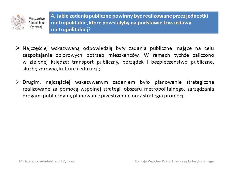 4. Jakie zadania publiczne powinny być realizowane przez jednostki metropolitalne, które powstałyby na podstawie tzw. ustawy metropolitalnej? Minister