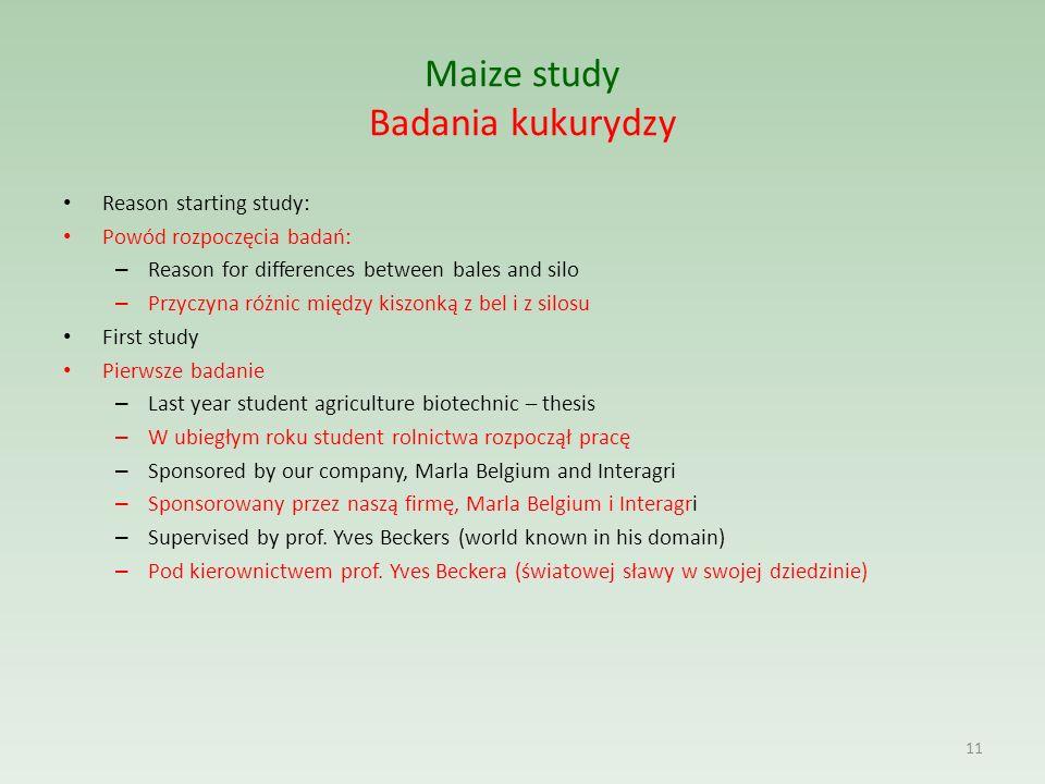 Maize study Badania kukurydzy Reason starting study: Powód rozpoczęcia badań: – Reason for differences between bales and silo – Przyczyna różnic międz