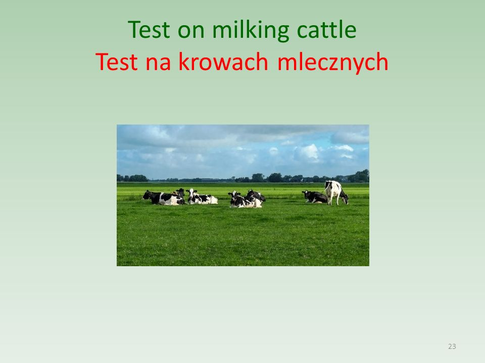 Test on milking cattle Test na krowach mlecznych 23