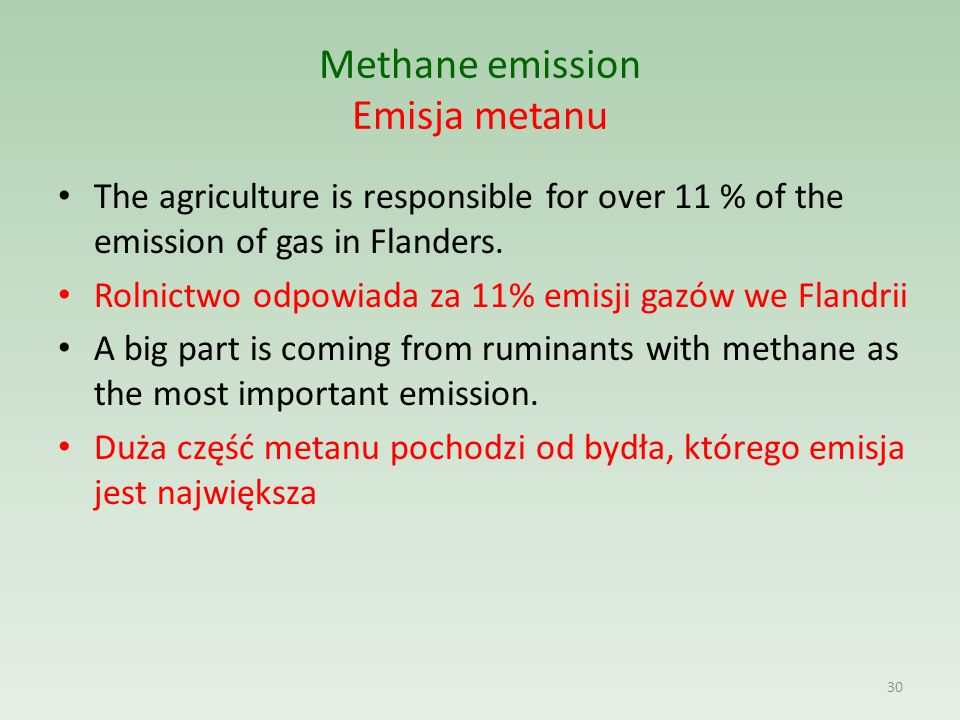 Methane emission Emisja metanu The agriculture is responsible for over 11 % of the emission of gas in Flanders.
