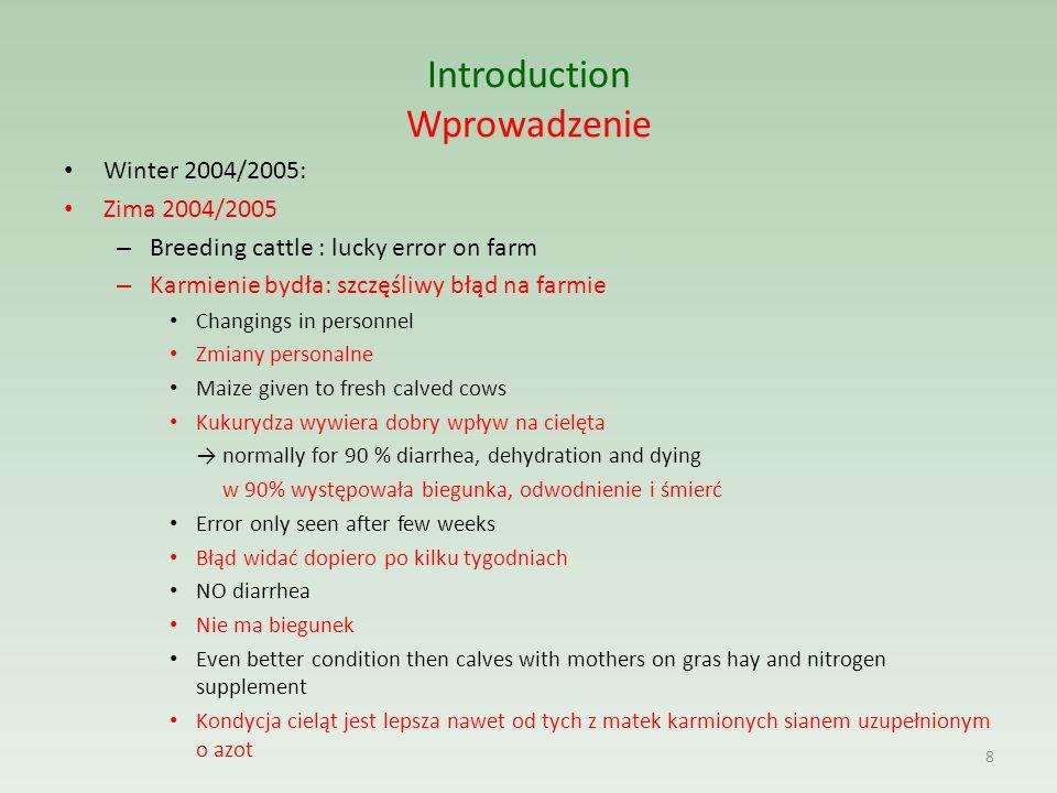 Introduction Wprowadzenie Winter 2004/2005: Zima 2004/2005 – Breeding cattle : lucky error on farm – Karmienie bydła: szczęśliwy błąd na farmie Changi