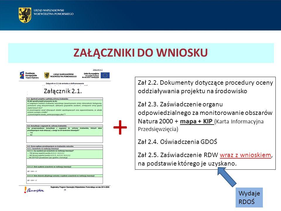 Zał 2.2. Dokumenty dotyczące procedury oceny oddziaływania projektu na środowisko Zał 2.3. Zaświadczenie organu odpowiedzialnego za monitorowanie obsz