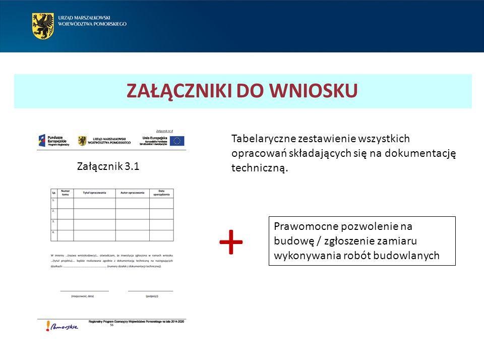 ZAŁĄCZNIKI DO WNIOSKU Tabelaryczne zestawienie wszystkich opracowań składających się na dokumentację techniczną.