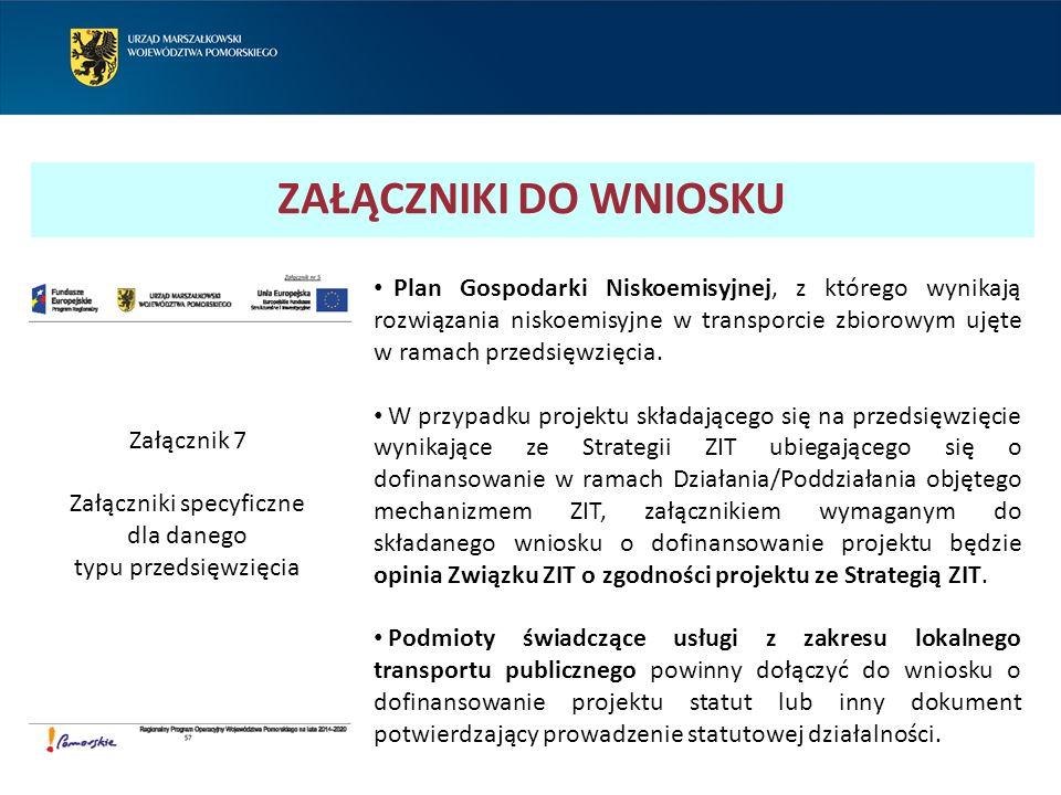 ZAŁĄCZNIKI DO WNIOSKU Plan Gospodarki Niskoemisyjnej, z którego wynikają rozwiązania niskoemisyjne w transporcie zbiorowym ujęte w ramach przedsięwzię