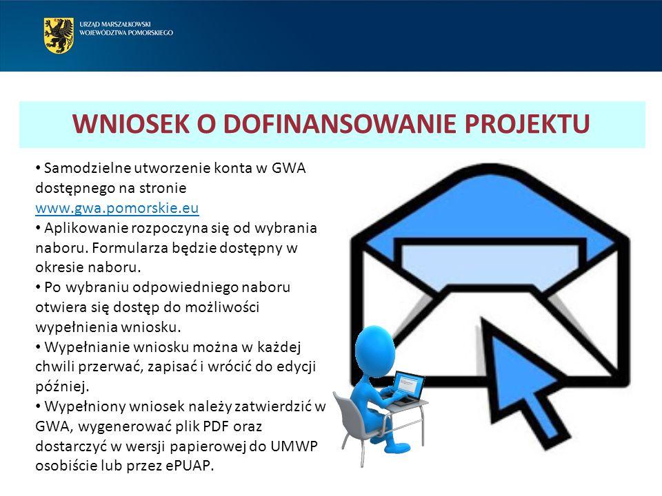 Samodzielne utworzenie konta w GWA dostępnego na stronie www.gwa.pomorskie.eu Aplikowanie rozpoczyna się od wybrania naboru. Formularza będzie dostępn