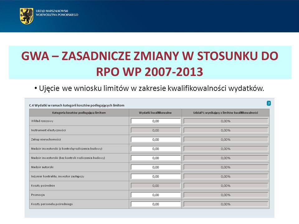 GWA – ZASADNICZE ZMIANY W STOSUNKU DO RPO WP 2007-2013 Ujęcie we wniosku limitów w zakresie kwalifikowalności wydatków.