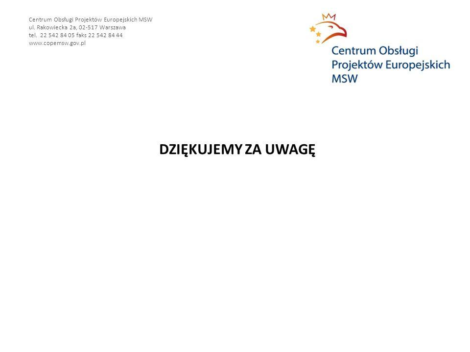 DZIĘKUJEMY ZA UWAGĘ Centrum Obsługi Projektów Europejskich MSW ul. Rakowiecka 2a, 02-517 Warszawa tel. 22 542 84 05 faks 22 542 84 44 www.copemsw.gov.