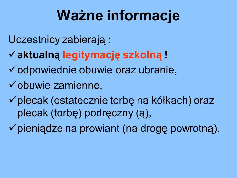 Zbiórka uczestników na placu szkolnym przy SP 3, zakończenie wycieczki na dworcu PKP w Katowicach.
