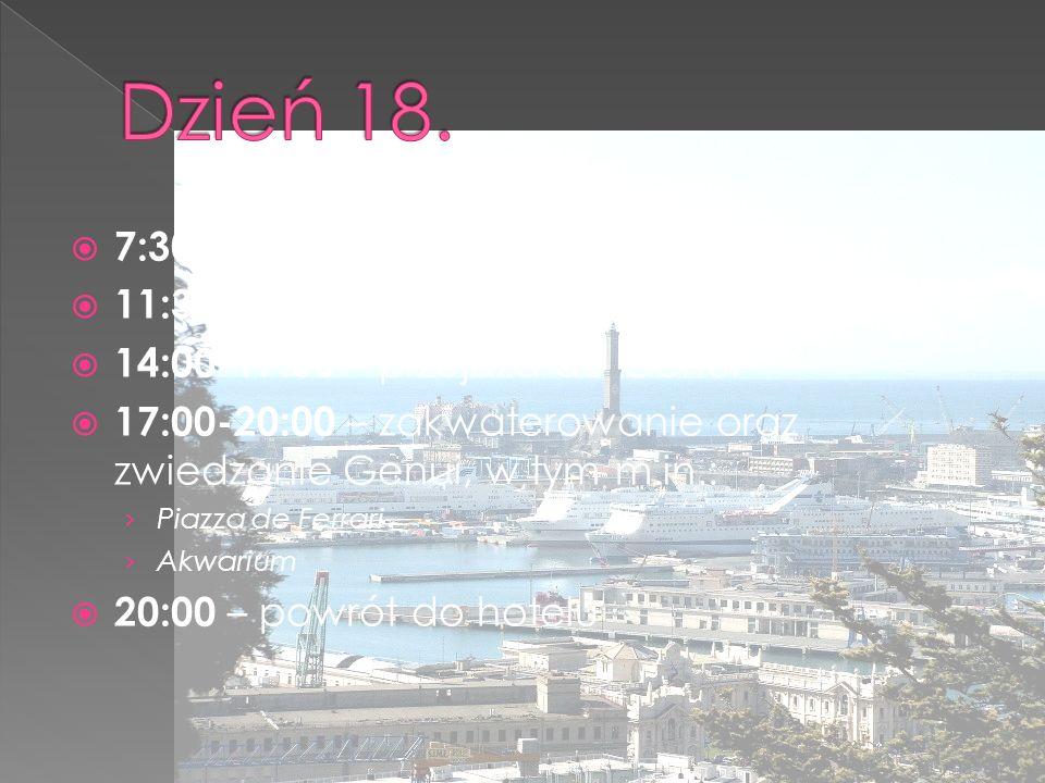  7:30-11:30 – przejazd z Rzymu do Bolonii  11:30-14:00 – zwiedzanie  14:00-17:00 – przejazd do Genui  17:00-20:00 – zakwaterowanie oraz zwiedzanie Genui, w tym m.in.: › Piazza de Ferrari › Akwarium  20:00 – powrót do hotelu