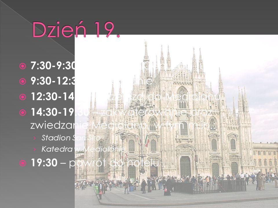  7:30-9:30 – przejazd z Genui do Turynu  9:30-12:30 – zwiedzanie  12:30-14:30 – przejazd do Mediolanu  14:30-19:30 – zakwaterowanie oraz zwiedzanie Mediolanu, w tym m.in.: › Stadion San Siro › Katedra w Mediolanie  19:30 – powrót do hotelu