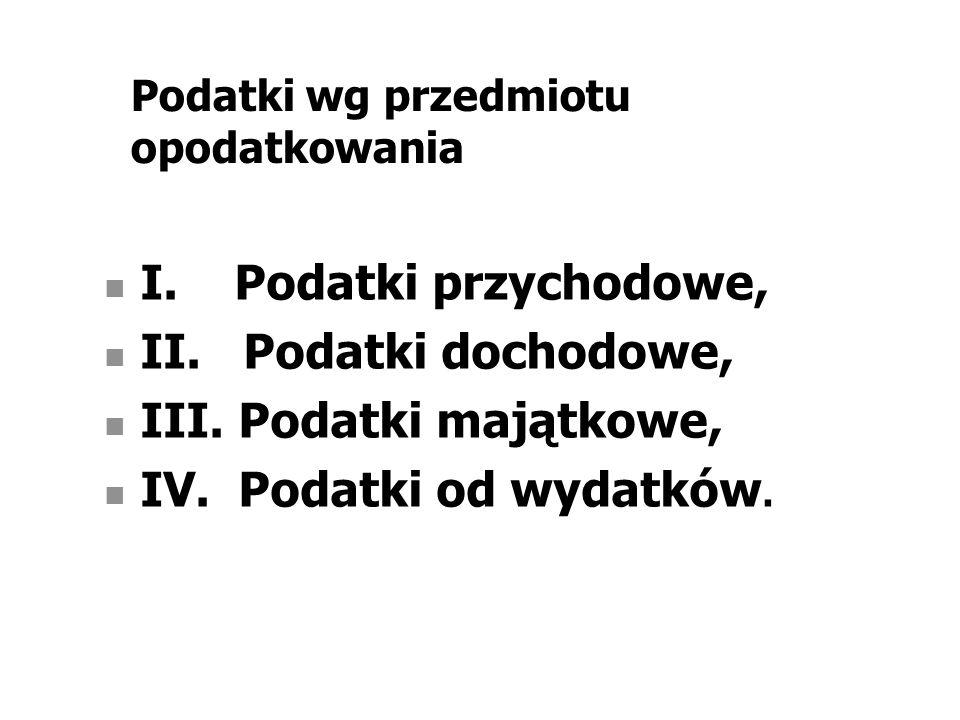 Podatki wg przedmiotu opodatkowania I. Podatki przychodowe, II.