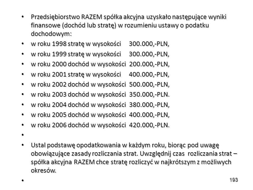 Przedsiębiorstwo RAZEM spółka akcyjna uzyskało następujące wyniki finansowe (dochód lub stratę) w rozumieniu ustawy o podatku dochodowym: Przedsiębiorstwo RAZEM spółka akcyjna uzyskało następujące wyniki finansowe (dochód lub stratę) w rozumieniu ustawy o podatku dochodowym: w roku 1998 stratę w wysokości 300.000,-PLN, w roku 1998 stratę w wysokości 300.000,-PLN, w roku 1999 stratę w wysokości 300.000,-PLN, w roku 1999 stratę w wysokości 300.000,-PLN, w roku 2000 dochód w wysokości 200.000,-PLN, w roku 2000 dochód w wysokości 200.000,-PLN, w roku 2001 stratę w wysokości 400.000,-PLN, w roku 2001 stratę w wysokości 400.000,-PLN, w roku 2002 dochód w wysokości 500.000,-PLN, w roku 2002 dochód w wysokości 500.000,-PLN, w roku 2003 dochód w wysokości 350.000,-PLN.