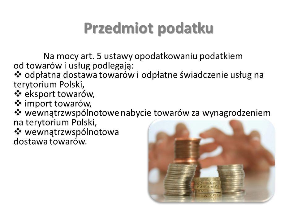 Przedmiot podatku Na mocy art.