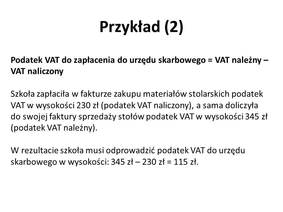Przykład (2) Podatek VAT do zapłacenia do urzędu skarbowego = VAT należny – VAT naliczony Szkoła zapłaciła w fakturze zakupu materiałów stolarskich podatek VAT w wysokości 230 zł (podatek VAT naliczony), a sama doliczyła do swojej faktury sprzedaży stołów podatek VAT w wysokości 345 zł (podatek VAT należny).