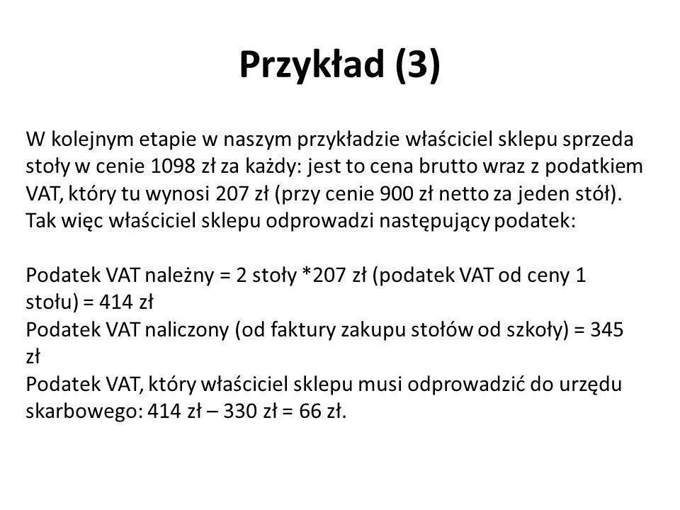 W kolejnym etapie w naszym przykładzie właściciel sklepu sprzeda stoły w cenie 1098 zł za każdy: jest to cena brutto wraz z podatkiem VAT, który tu wynosi 207 zł (przy cenie 900 zł netto za jeden stół).