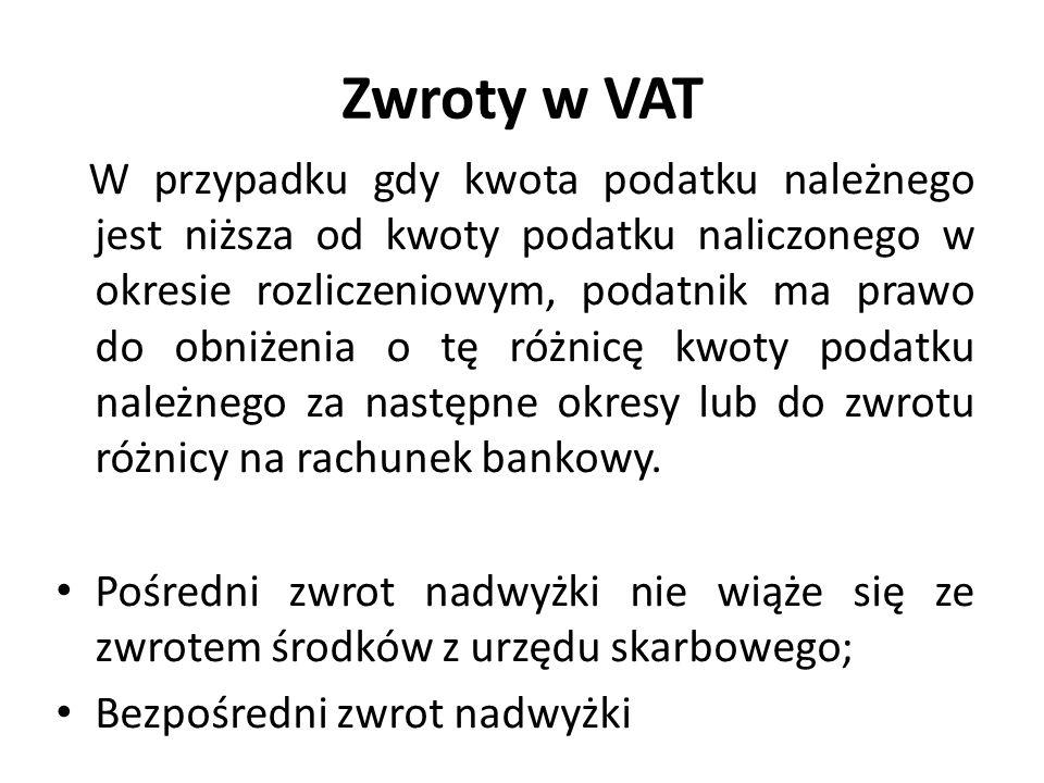 Zwroty w VAT W przypadku gdy kwota podatku należnego jest niższa od kwoty podatku naliczonego w okresie rozliczeniowym, podatnik ma prawo do obniżenia o tę różnicę kwoty podatku należnego za następne okresy lub do zwrotu różnicy na rachunek bankowy.