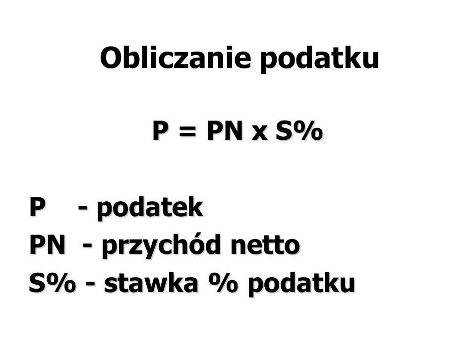 Obliczanie podatku P = PN x S% P - podatek PN - przychód netto S% - stawka % podatku