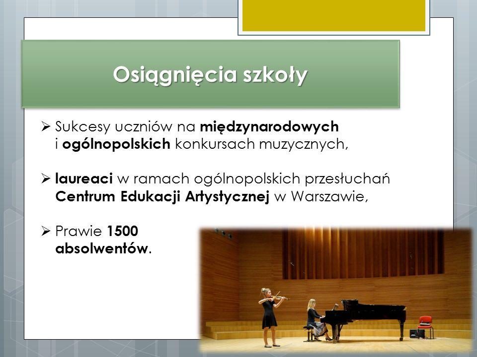 Osiągnięcia szkoły  Sukcesy uczniów na międzynarodowych i ogólnopolskich konkursach muzycznych,  laureaci w ramach ogólnopolskich przesłuchań Centrum Edukacji Artystycznej w Warszawie,  Prawie 1500 absolwentów.