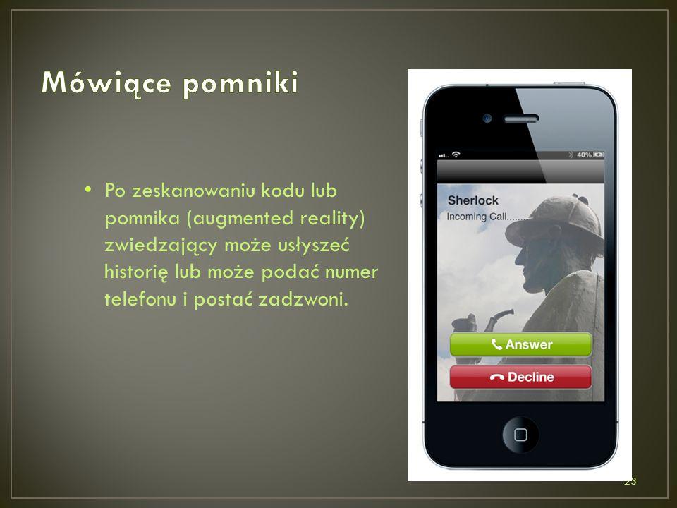 Po zeskanowaniu kodu lub pomnika (augmented reality) zwiedzający może usłyszeć historię lub może podać numer telefonu i postać zadzwoni.
