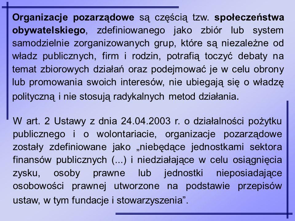 Organizacje pozarządowe są częścią tzw. społeczeństwa obywatelskiego, zdefiniowanego jako zbiór lub system samodzielnie zorganizowanych grup, które są