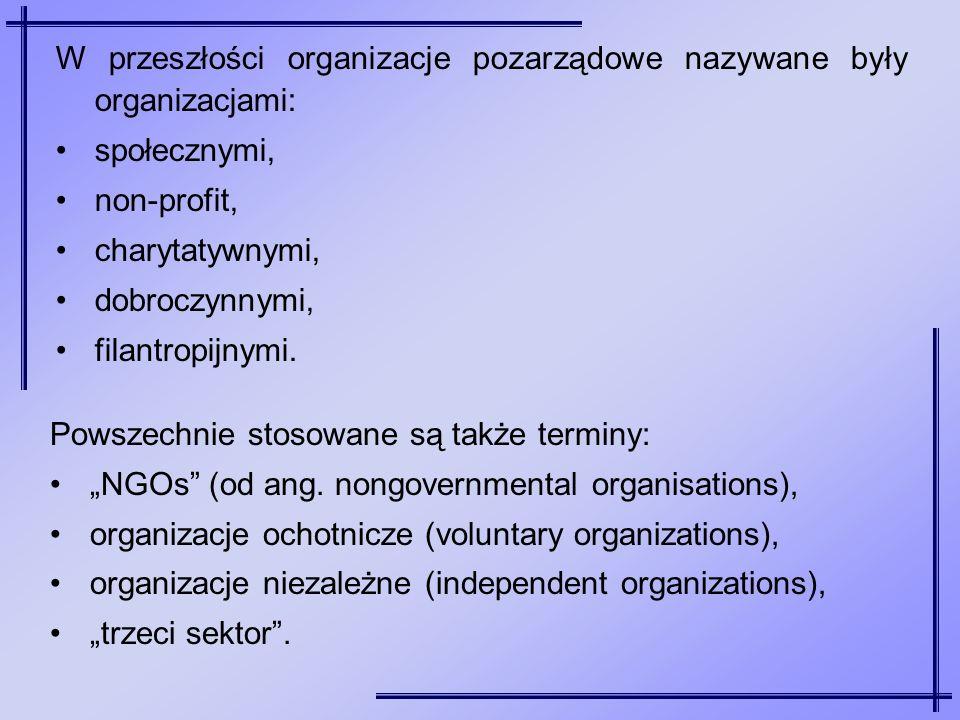 W przeszłości organizacje pozarządowe nazywane były organizacjami: społecznymi, non-profit, charytatywnymi, dobroczynnymi, filantropijnymi. Powszechni
