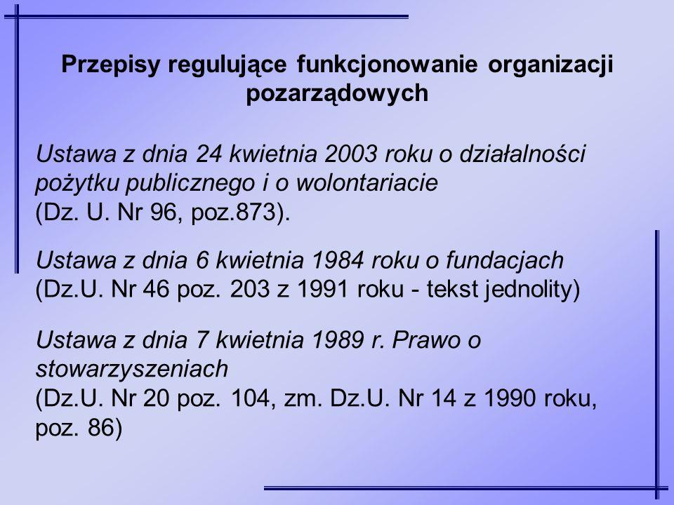 Ustawa z dnia 6 kwietnia 1984 roku o fundacjach (Dz.U. Nr 46 poz. 203 z 1991 roku - tekst jednolity) Ustawa z dnia 7 kwietnia 1989 r. Prawo o stowarzy