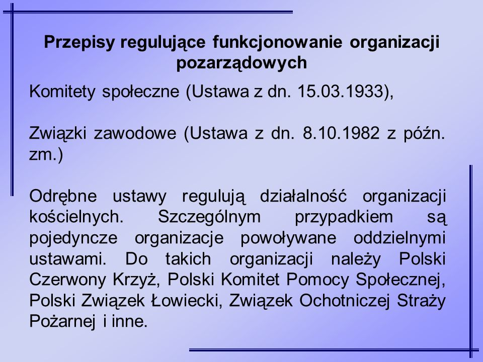 Komitety społeczne (Ustawa z dn. 15.03.1933), Związki zawodowe (Ustawa z dn. 8.10.1982 z późn. zm.) Odrębne ustawy regulują działalność organizacji ko