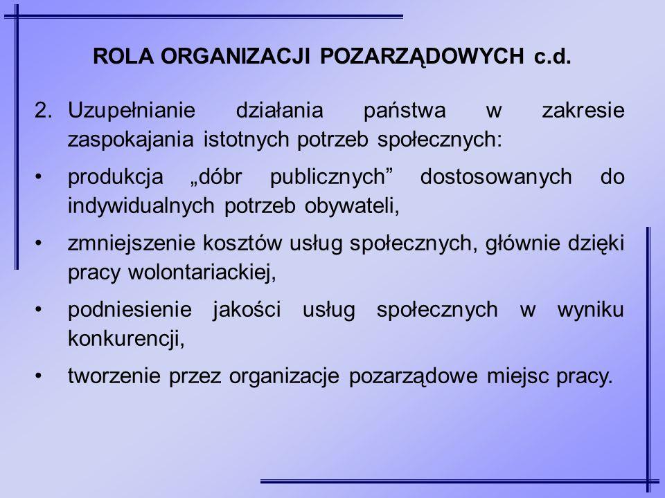 """2.Uzupełnianie działania państwa w zakresie zaspokajania istotnych potrzeb społecznych: produkcja """"dóbr publicznych"""" dostosowanych do indywidualnych p"""