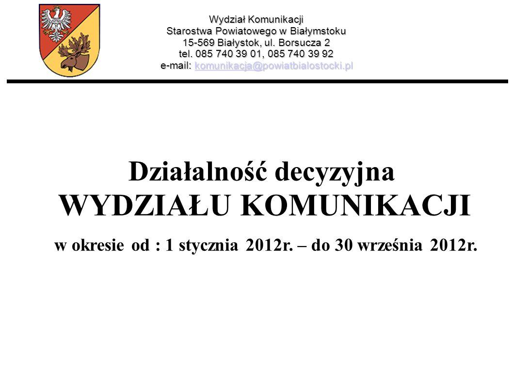 Wydział Komunikacji Starostwa Powiatowego w Białymstoku 15-569 Białystok, ul. Borsucza 2 tel. 085 740 39 01, 085 740 39 92 e-mail: komunikacja@powiatb