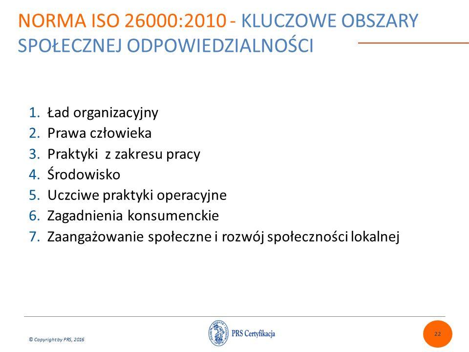 © Copyright by PRS, 2016 1.Ład organizacyjny 2.Prawa człowieka 3.Praktyki z zakresu pracy 4.Środowisko 5.Uczciwe praktyki operacyjne 6.Zagadnienia konsumenckie 7.Zaangażowanie społeczne i rozwój społeczności lokalnej 22 NORMA ISO 26000:2010 - KLUCZOWE OBSZARY SPOŁECZNEJ ODPOWIEDZIALNOŚCI