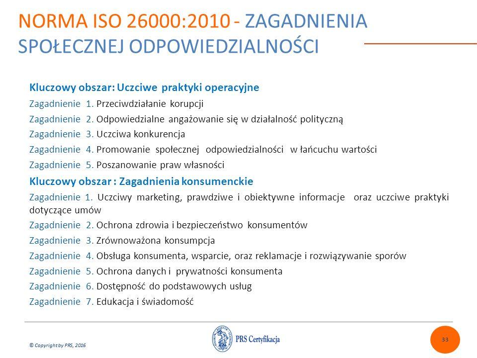 © Copyright by PRS, 2016 NORMA ISO 26000:2010 - ZAGADNIENIA SPOŁECZNEJ ODPOWIEDZIALNOŚCI Kluczowy obszar: Uczciwe praktyki operacyjne Zagadnienie 1. P