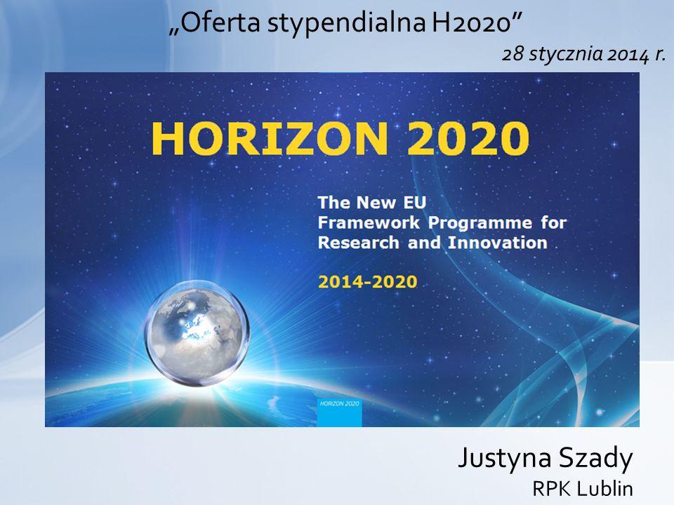 """""""Oferta stypendialna H2020"""" 28 stycznia 2014 r. Justyna Szady RPK Lublin"""