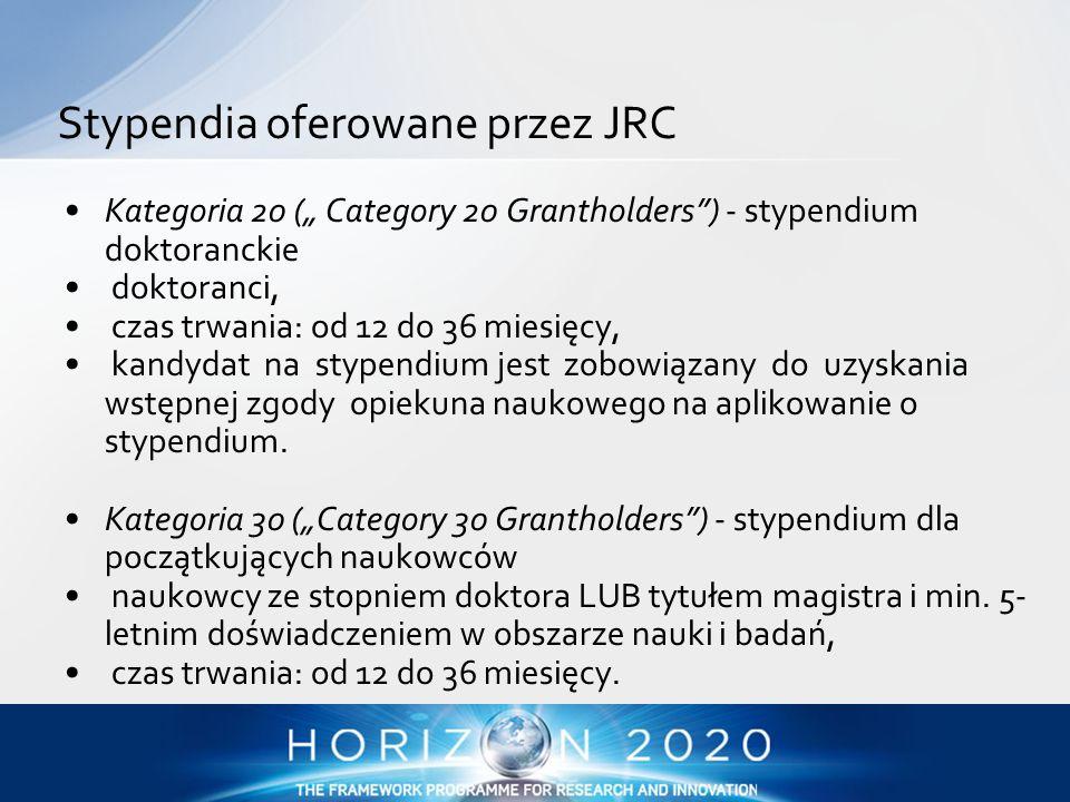 """Kategoria 20 ("""" Category 20 Grantholders"""") - stypendium doktoranckie doktoranci, czas trwania: od 12 do 36 miesięcy, kandydat na stypendium jest zobow"""
