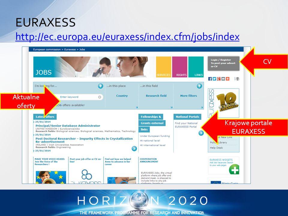 EURAXESS http://ec.europa.eu/euraxess/index.cfm/jobs/index http://ec.europa.eu/euraxess/index.cfm/jobs/index CV Aktualne oferty Krajowe portale EURAXE