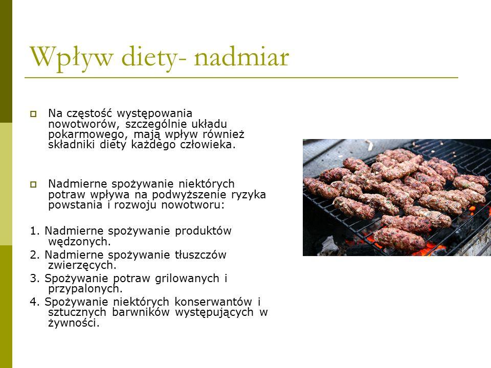 Wpływ diety- nadmiar  Na częstość występowania nowotworów, szczególnie układu pokarmowego, mają wpływ również składniki diety każdego człowieka.  Na