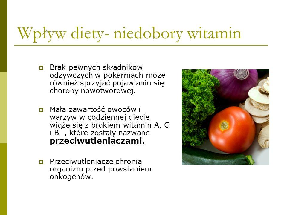 Wpływ diety- niedobory witamin  Brak pewnych składników odżywczych w pokarmach może również sprzyjać pojawianiu się choroby nowotworowej.  Mała zawa