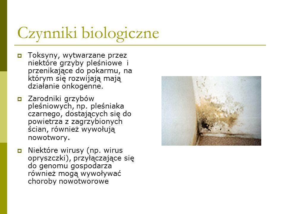 Czynniki biologiczne  Toksyny, wytwarzane przez niektóre grzyby pleśniowe i przenikające do pokarmu, na którym się rozwijają mają działanie onkogenne