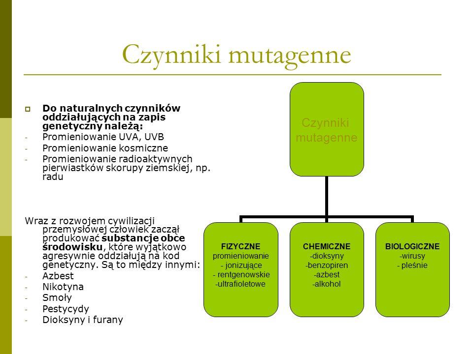 Czynniki mutagenne  Do naturalnych czynników oddziałujących na zapis genetyczny należą: - Promieniowanie UVA, UVB - Promieniowanie kosmiczne - Promie