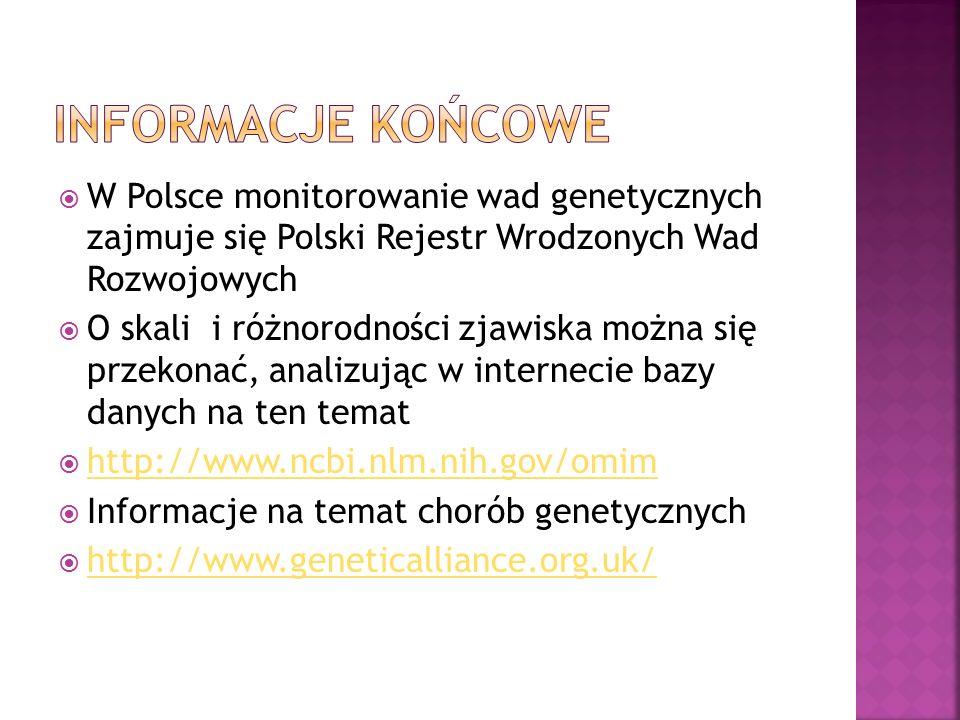  W Polsce monitorowanie wad genetycznych zajmuje się Polski Rejestr Wrodzonych Wad Rozwojowych  O skali i różnorodności zjawiska można się przekonać, analizując w internecie bazy danych na ten temat  http://www.ncbi.nlm.nih.gov/omim http://www.ncbi.nlm.nih.gov/omim  Informacje na temat chorób genetycznych  http://www.geneticalliance.org.uk/ http://www.geneticalliance.org.uk/