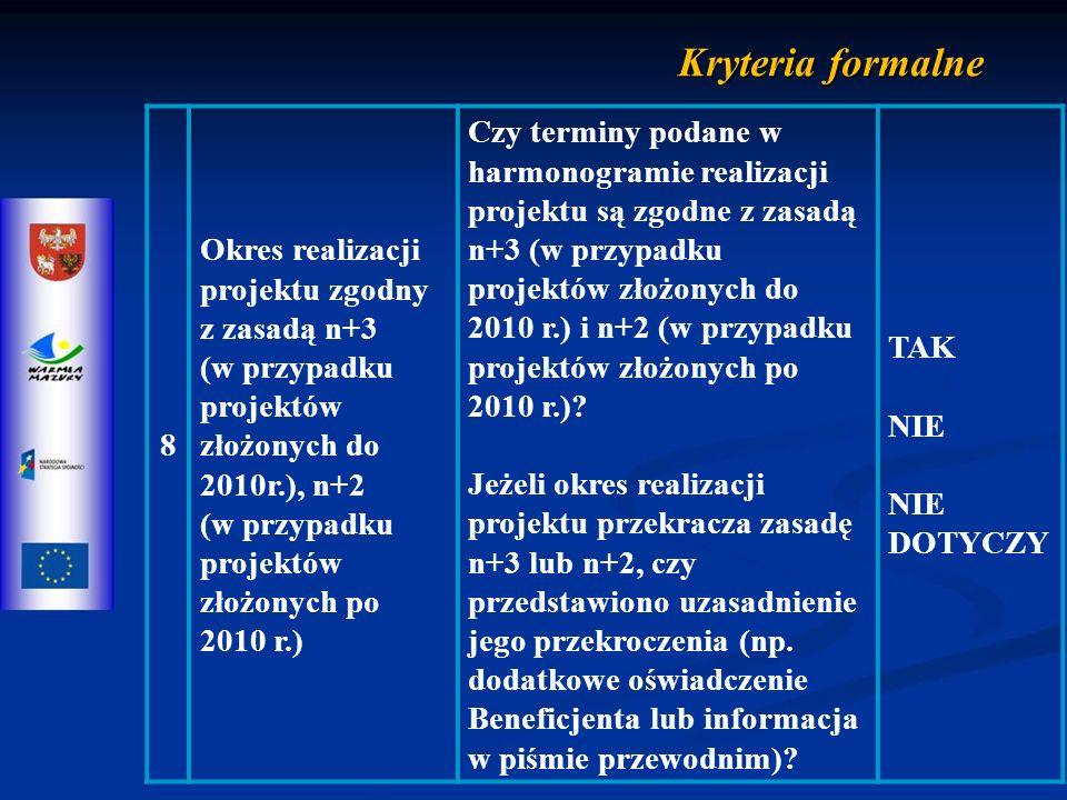 8 Okres realizacji projektu zgodny z zasadą n+3 (w przypadku projektów złożonych do 2010r.), n+2 (w przypadku projektów złożonych po 2010 r.) Czy terminy podane w harmonogramie realizacji projektu są zgodne z zasadą n+3 (w przypadku projektów złożonych do 2010 r.) i n+2 (w przypadku projektów złożonych po 2010 r.).