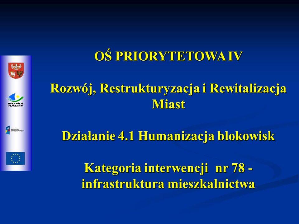 OŚ PRIORYTETOWA IV Rozwój, Restrukturyzacja i Rewitalizacja Miast Działanie 4.1 Humanizacja blokowisk Kategoria interwencji nr 78 - infrastruktura mieszkalnictwa