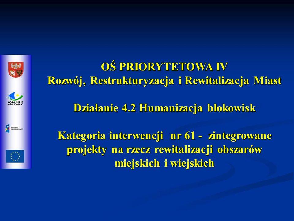 OŚ PRIORYTETOWA IV Rozwój, Restrukturyzacja i Rewitalizacja Miast Działanie 4.2 Humanizacja blokowisk Kategoria interwencji nr 61 - zintegrowane projekty na rzecz rewitalizacji obszarów miejskich i wiejskich