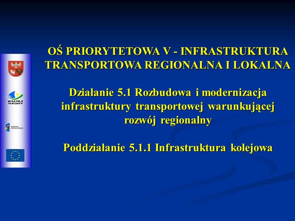 OŚ PRIORYTETOWA V - INFRASTRUKTURA TRANSPORTOWA REGIONALNA I LOKALNA Działanie 5.1 Rozbudowa i modernizacja infrastruktury transportowej warunkującej rozwój regionalny Poddziałanie 5.1.1 Infrastruktura kolejowa