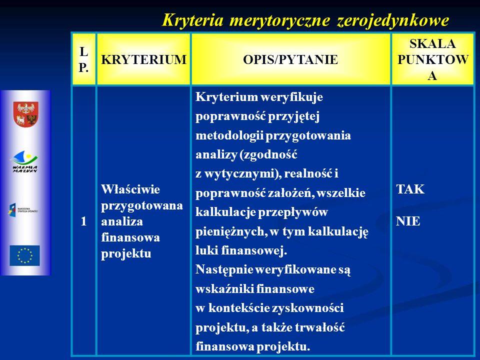 Kryteria merytoryczne zerojedynkowe L P.