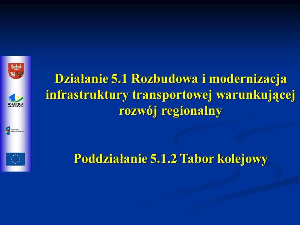 Działanie 5.1 Rozbudowa i modernizacja infrastruktury transportowej warunkującej rozwój regionalny Poddziałanie 5.1.2 Tabor kolejowy